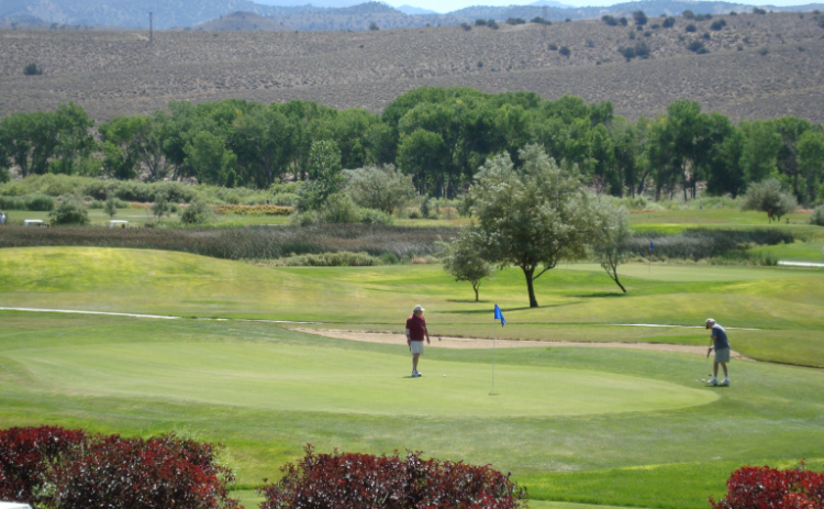 A couple of golfers play the course at Empire Ranch Golf Course in Carson City, Nevada