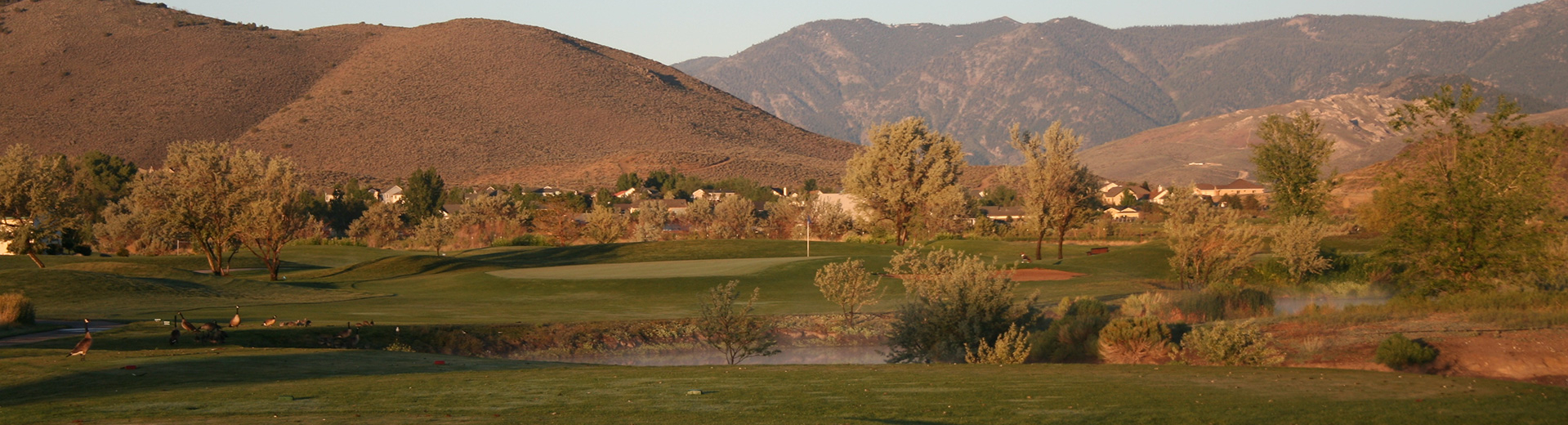The beautiful mountain backdrop of Empire Ranch Golf Course in Carson City, Nevada